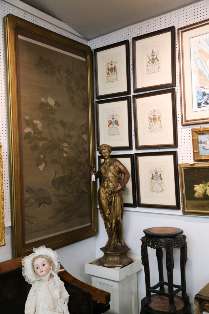 The top lot of the sale can be seen here in the large Asian Nineteenth Century watercolor on fabric at left. The piece measures 73 by 36 inches and sold for $7,320, more than tripling its estimate.