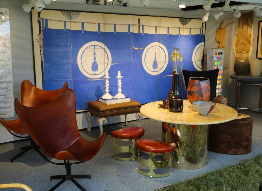 David Bell Antiques, Washington DC, considers this show to be one of the best of his summer circuit. The paneled screen at back is Japanese, circa the 1920s, and featured a nautical Art Deco theme.