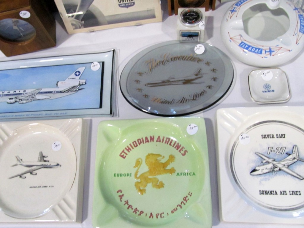 Tobacco-related collectors, or smokers, have a wide variety of airline ashtrays to choose from.