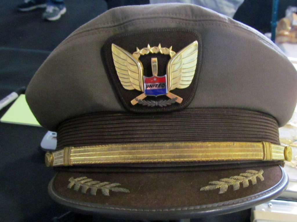 One of the few airline uniform items seen was this United Airlines captain's hat with badge. Both the hat and the badge are collectible.