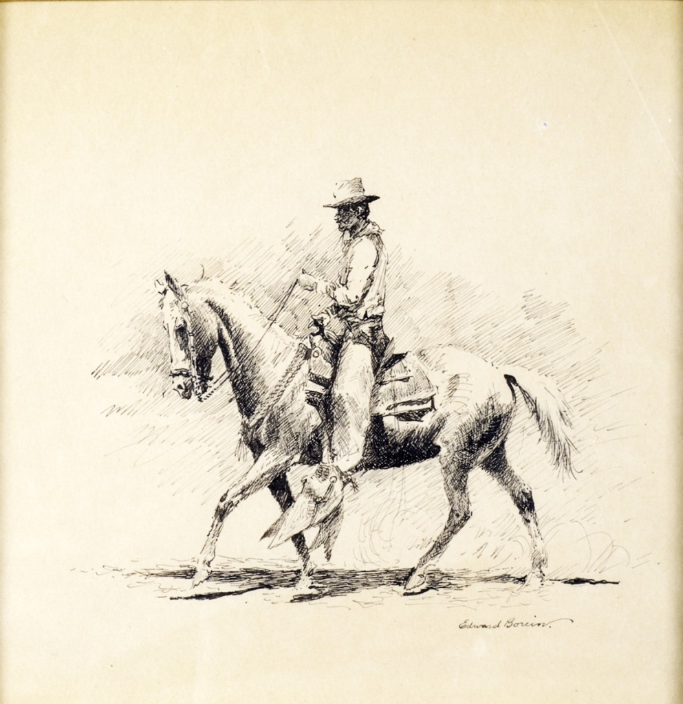 Edward Borein's India ink on paper of a mounted cowboy claimed $18,800.