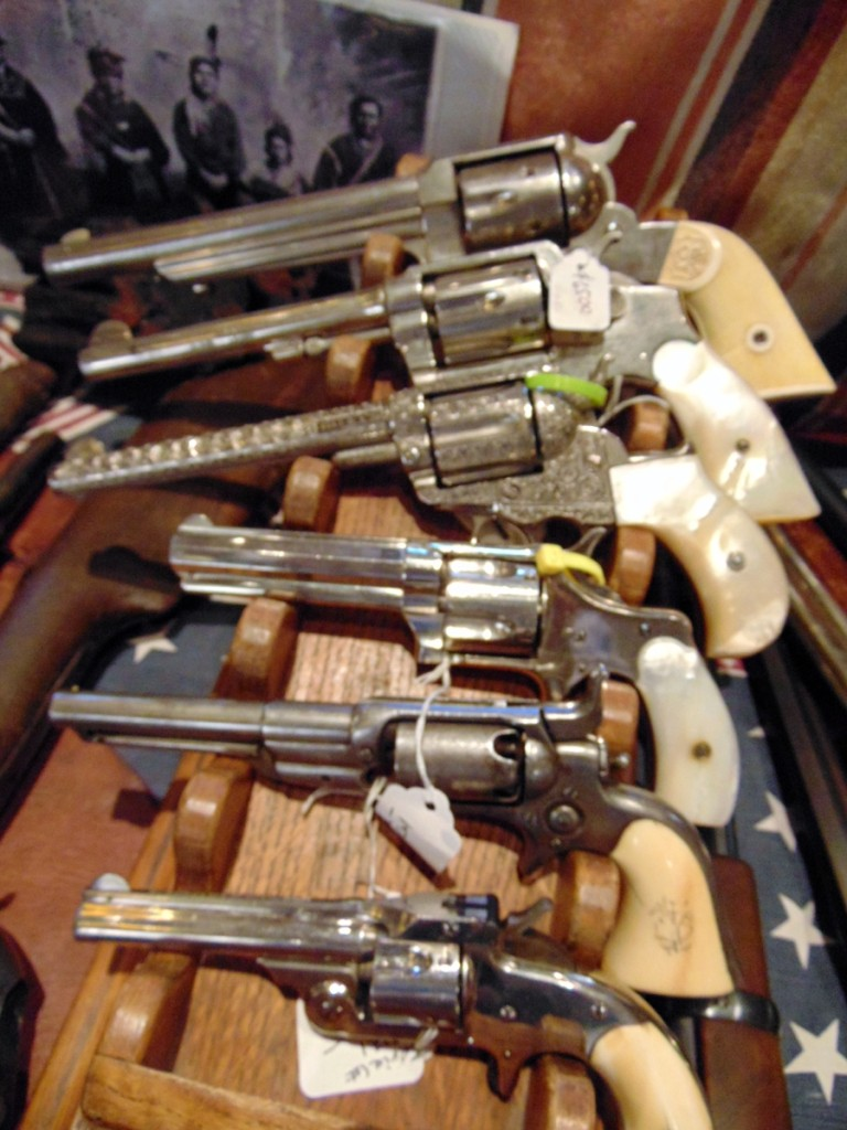 A selection of six-shooters from Old West Traders Dan and Rebecca Pauly, $975 to $6,500.