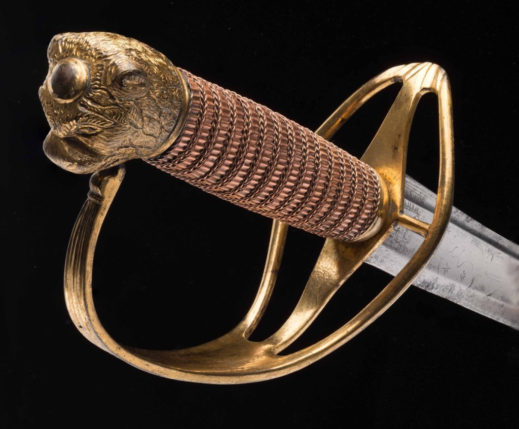 Officer's saber and scabbard, James Cullum, London, circa 1775. Steel, iron, gilt brass, wood, copper and leather. Museum purchase. Photo courtesy of The Art Museums of Colonial Williamsburg.