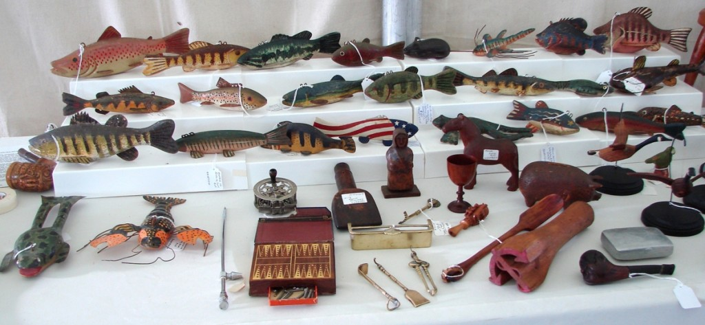 Holden Antiques, Sherman, Conn., had a large selection of fish decoys priced between $55 and $145.