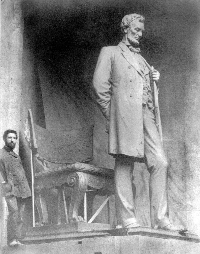 "Augustus Saint-Gaudens in his Cornish studio with the completed clay model of the ""Standing Lincoln,"" 1887, Saint-Gaudens National Historical Park. Image courtesy of the US Department of the Interior, National Park Service, Saint-Gaudens National Historical Park."