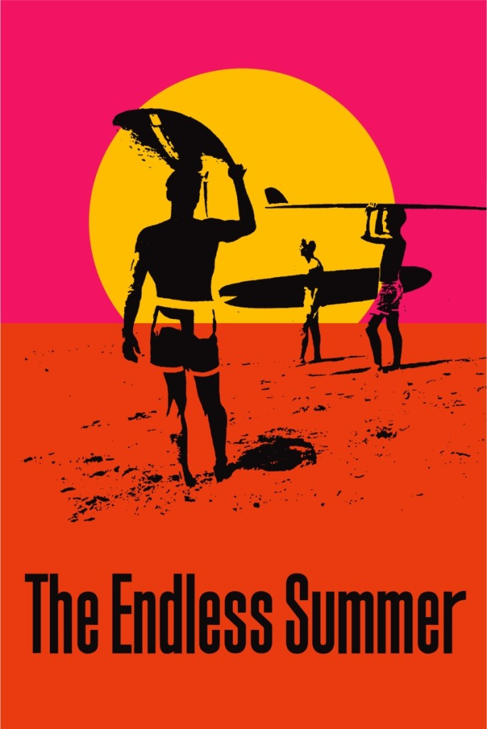 The Endless Summer poster designed by John Van Hamersveld, 1966. 39 by 27 inches.