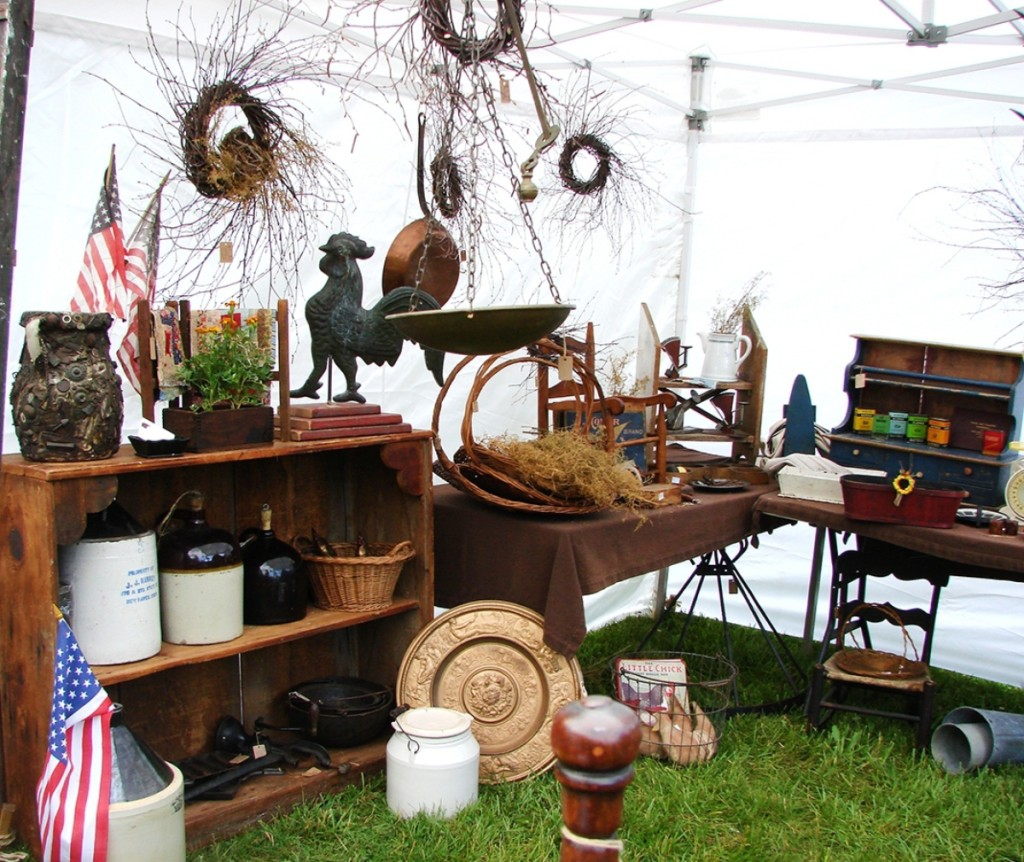 Orphan Annie's Antiques, Barre, Mass., had an early memory jug priced at $125, and the rooster weathervane was $130. The dealer has been doing the show for eight years.