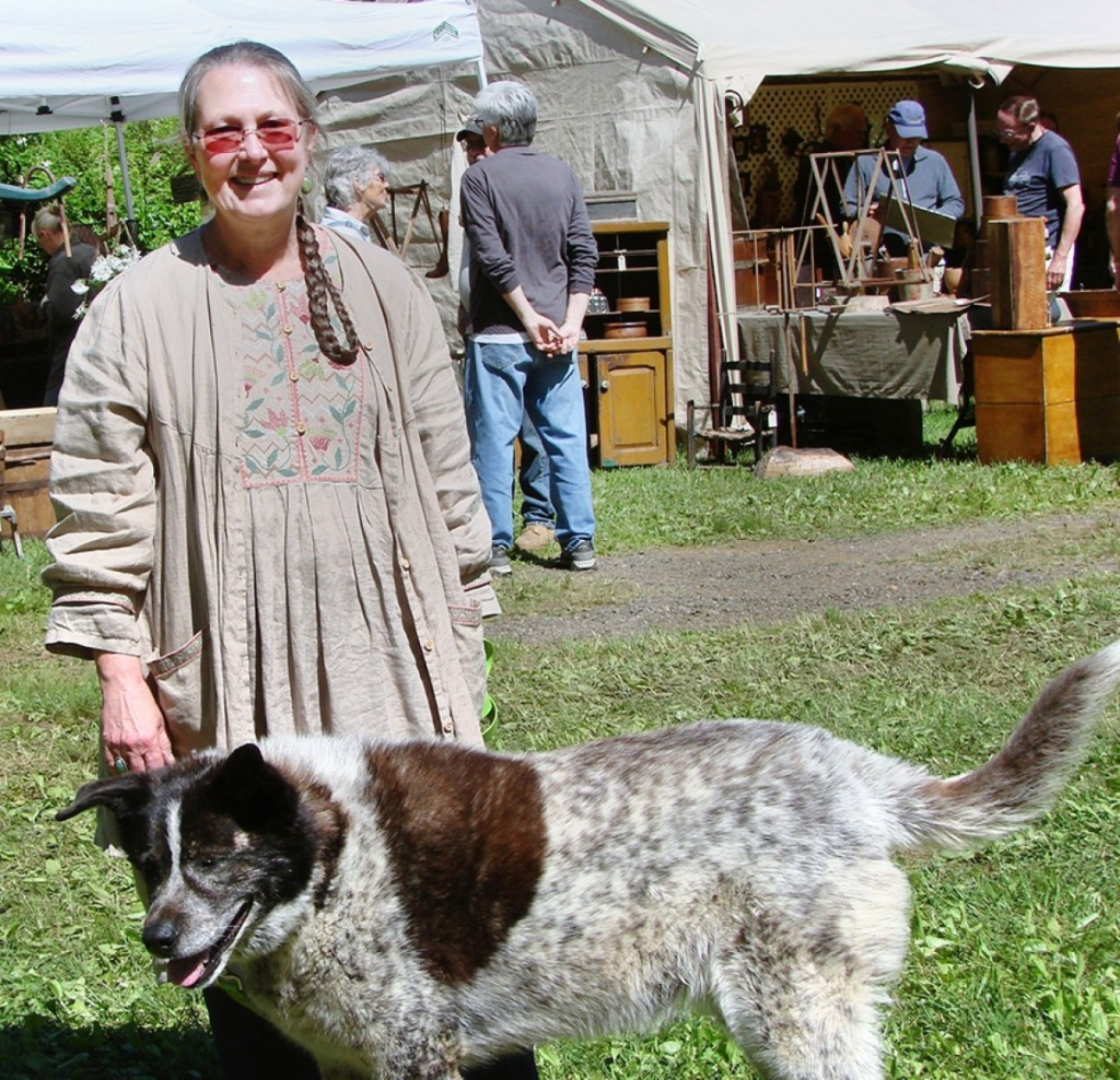 Kris Casucci produces and manages the show. Fiona is one of her four-legged helpers.