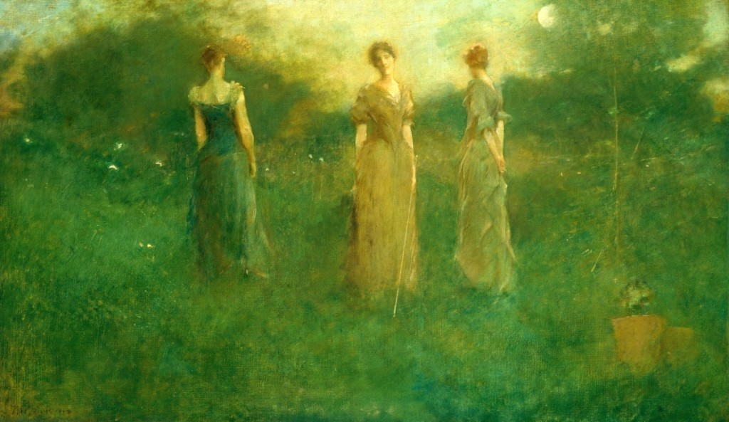 """In The Garden,"" circa 1894. Oil on canvas, 20-  by 35 inches. Smithsonian American Art Museum, gift of John Gellatly, 1929. Turning imperceptibly like flowers on a stem, Dewing's willowy forms echo the long-lined lilies at their feet."
