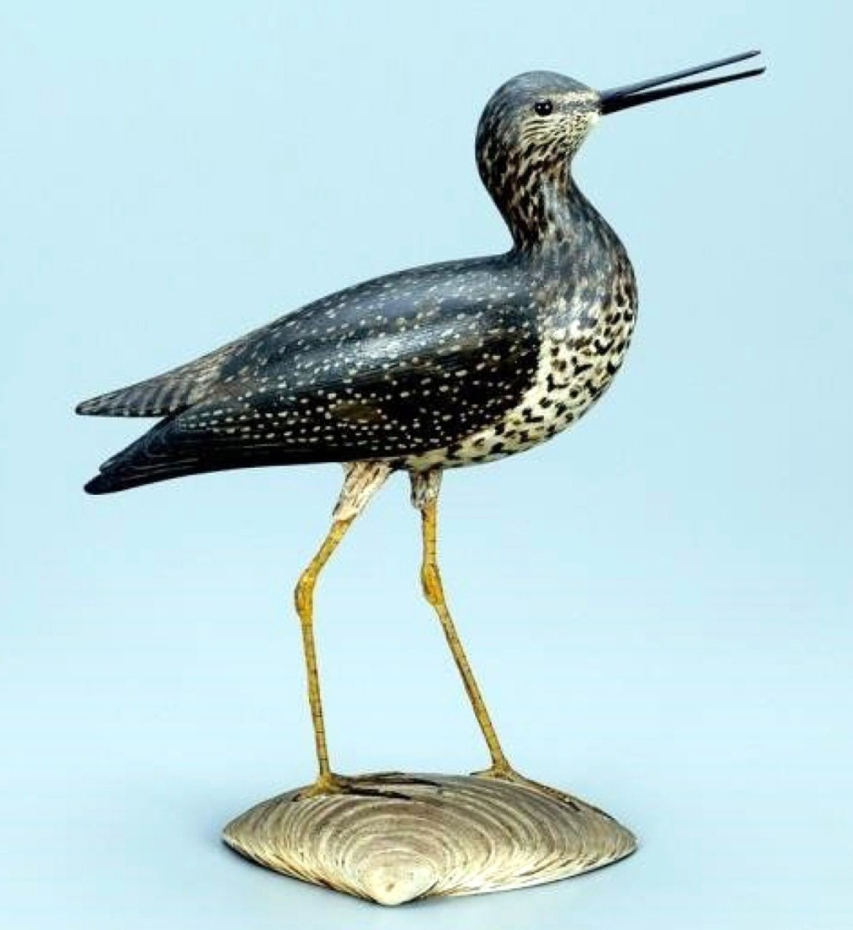Elmer Crowell made this open-bill calling yellowlegs decoy in 1910 and it has never before been offered at auction. That, together with the unusual pose and the fine condition, pushed the price to $174,000.
