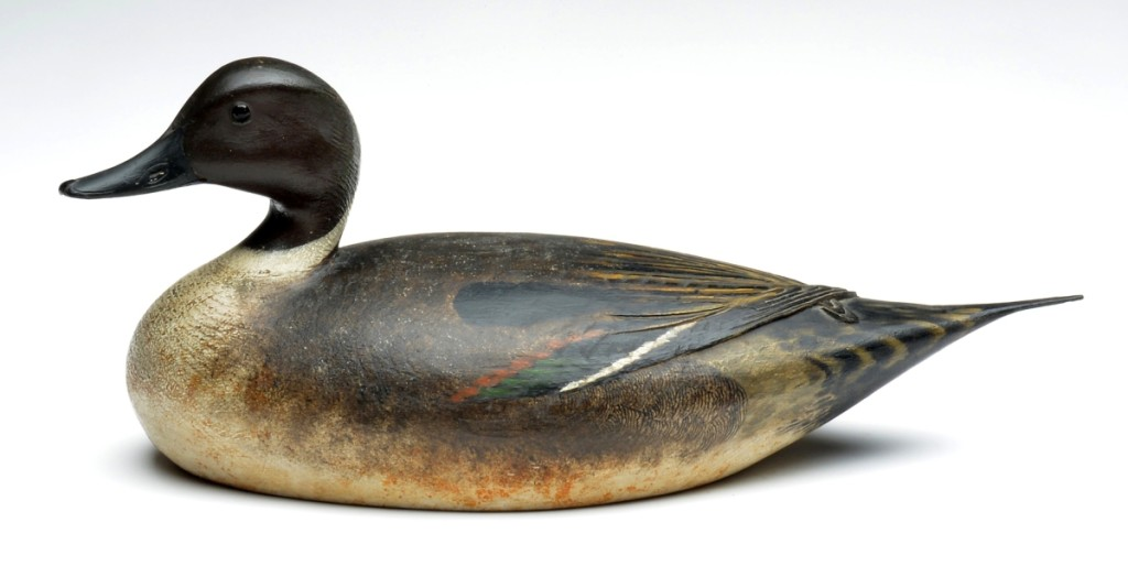 The star of the sale was this pintail drake by Elmer Crowell, which sold for $265,500. This one had been made for Stanley W. Smith of Boston and Orleans on Cape Cod. In addition to the exceptional quality was its rarity: Crowell carved very few pintails as they were not common on Cape Cod.