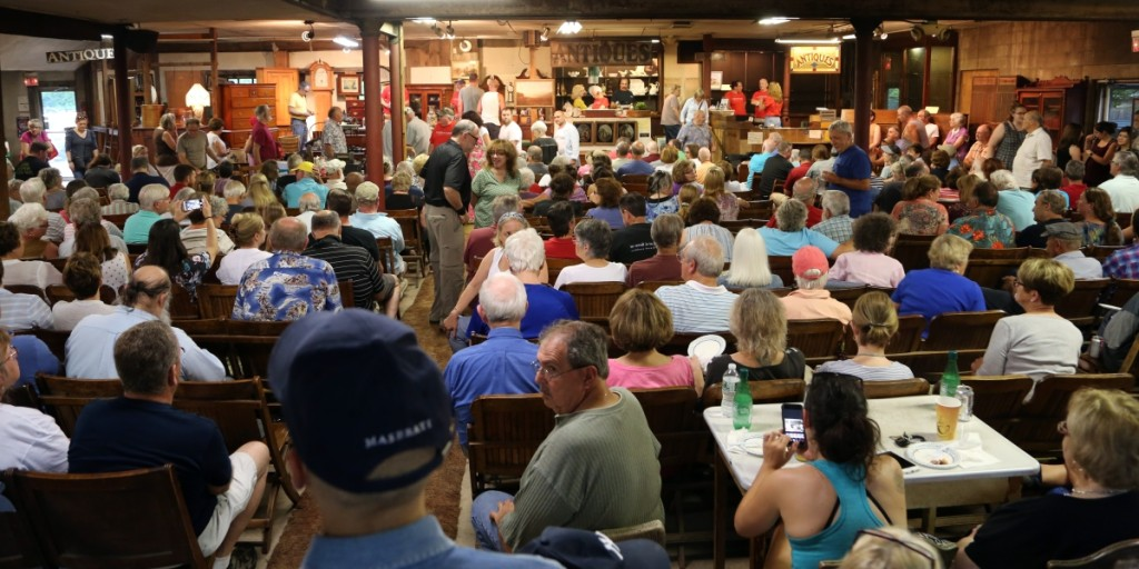The crowd packed into the barn for Wacht's final sale. More than 350 people filled every square inch of the gallery to try their hand at bidding one last time.
