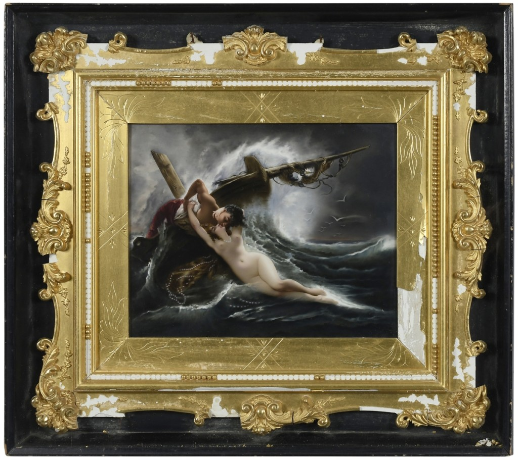 """Arguably one of the best results compared to its estimate ($ ,000) was this KPM porcelain plaque titled """"The Wave's Kiss,"""" which was also from the Funk family collection and closed at $28,800."""