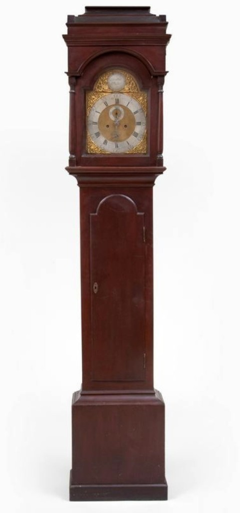 The catalog noted that this Federal cherry tall case clock with dial signed Cornelius Miller had been acquired at a 2013 auction for slightly more than $14,000. Stair got $7,995 for it, which gives a good indication of the fluctuations and trends in the market.
