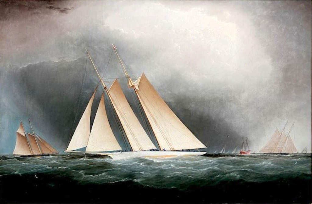 """The stormy clouds opened and shone down upon the subject of James Buttersworth's oil on canvas titled """"Portrait of the Yacht America, Racing Off Sandy Hook, With Deck Hands Changing The Sails, August 1870,"""" $34,160."""