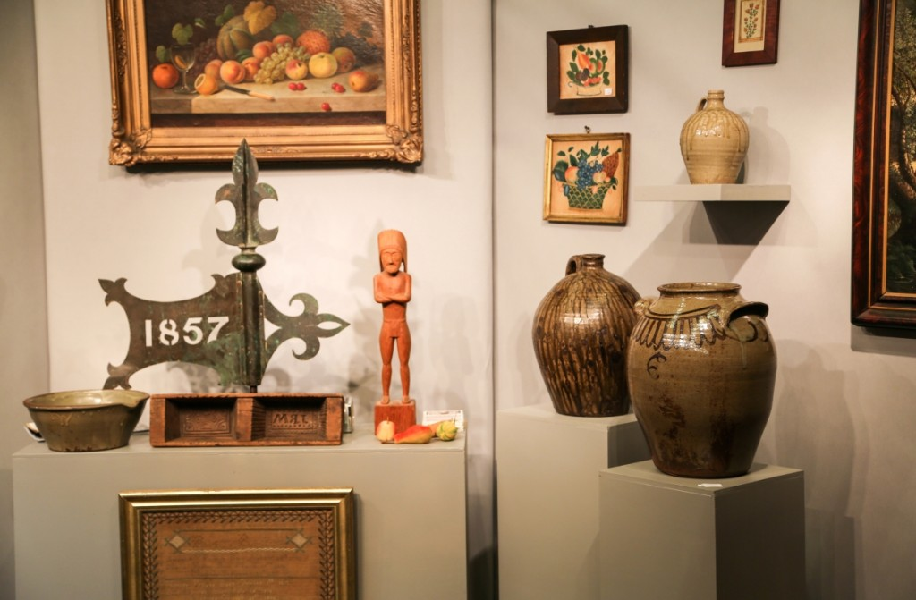 David Good, Camden, Ohio, featured here a selection of Southern stoneware pieces amid a variety of still lifes.