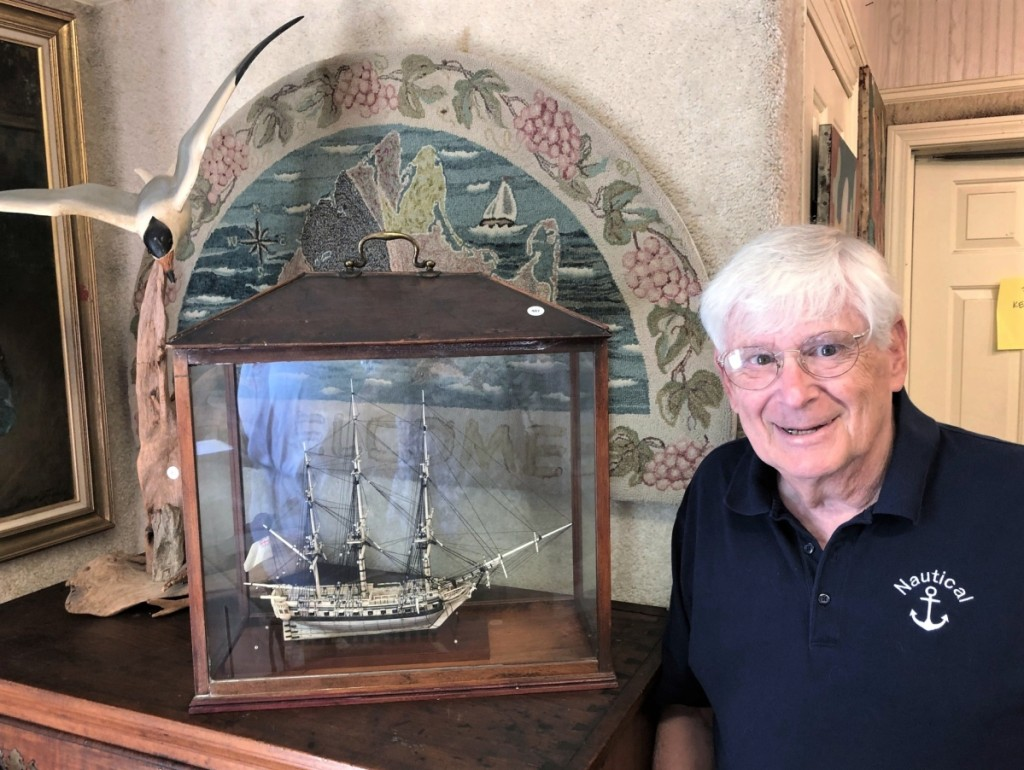 Maine dealer Dave White is booked until next February restoring old ship models. He admired this Napoleonic prisoner-of-war model, $6,000. It was French or English and dated to about 1800. Dr Richard H. Strauss Collection.