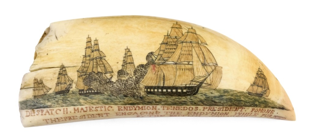 Polychrome scrimshaw whale's tooth by the Naval Monument engraver with original whaling scene, second quarter of the Nineteenth Century, $84,000 ($60/80,000). This is the only known tooth by the Naval Monument Engraver with an original whaling scene. Most of the carver's work was sourced from the 1816 and 1837 editions of Abel Bowen's The Naval Monument. Paul Vardeman Collection.