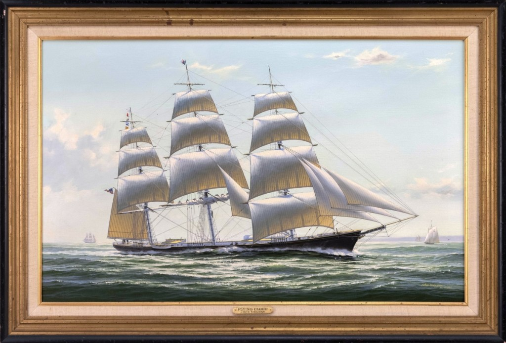 A highlight of the paintings section was this 1982 view of the famous American clipper ship Flying Cloud by John Mecray (1937–2017), $30,000 ($30/50,000). Proceeds from the sale benefited the IYRS School of Technology and Trades in Newport, R.I.