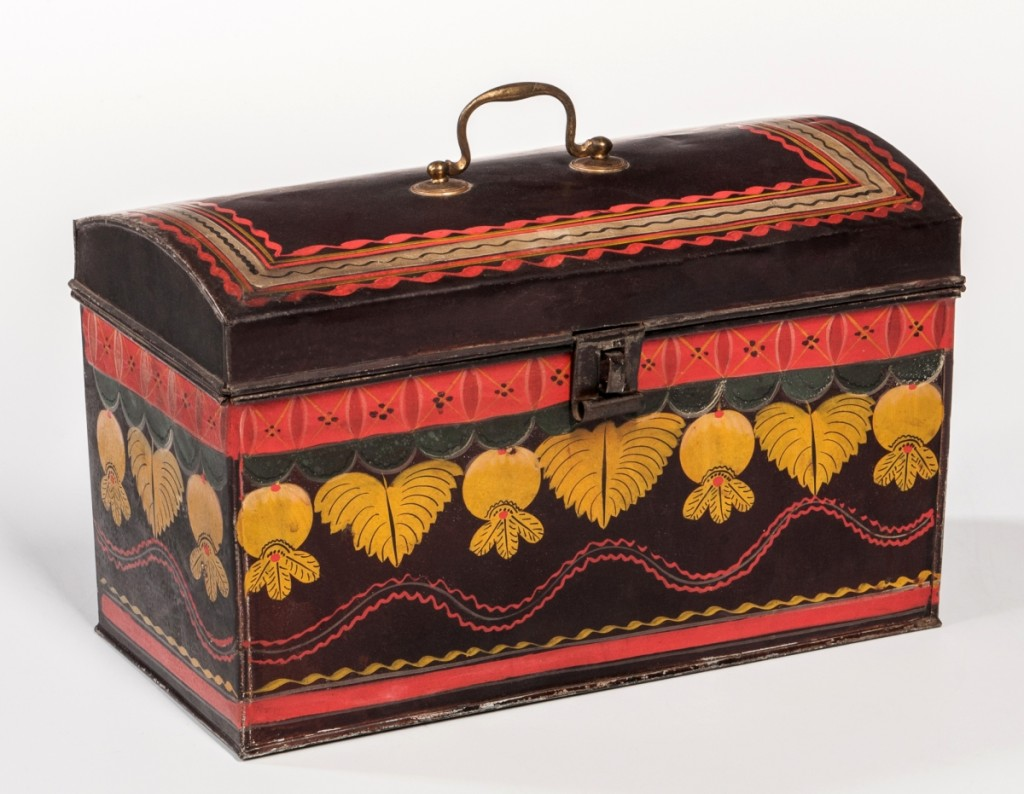 This fancifully painted tin document had once been bought in a New Mexico thrift store for $40. It showed that bidders are willing to pay for colorfully decorated smalls, as it went out at $15,990.