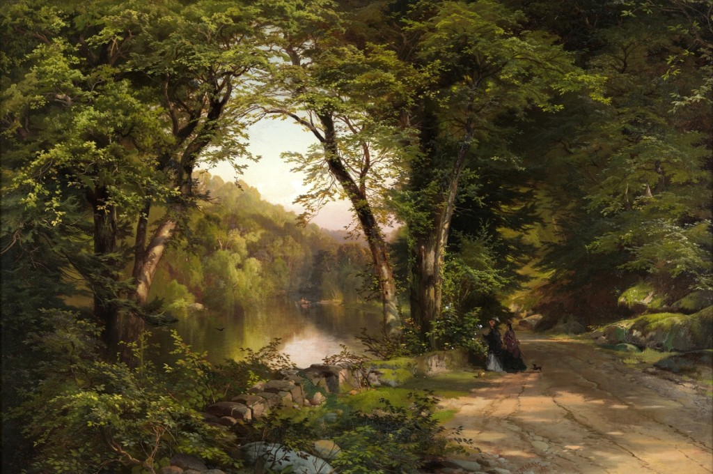 """Two Women in the Woods"" by Thomas Moran (1837-1926), 1870. Oil on canvas, 20 by 30 inches. Pennsylvania Academy of the Fine Arts, Philadelphia, Orton P. Jackson Fund in memory of Emily Penrose Jackson."