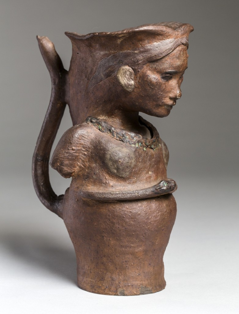 """Portrait Vase"" by Paul Gauguin, 1887–88. Unglazed stoneware decorated with slip, glaze and gold, 10¼ by 6-5/16 by 4-5/16 inches. Ny Carlsberg Glyptotek, Copenhagen."