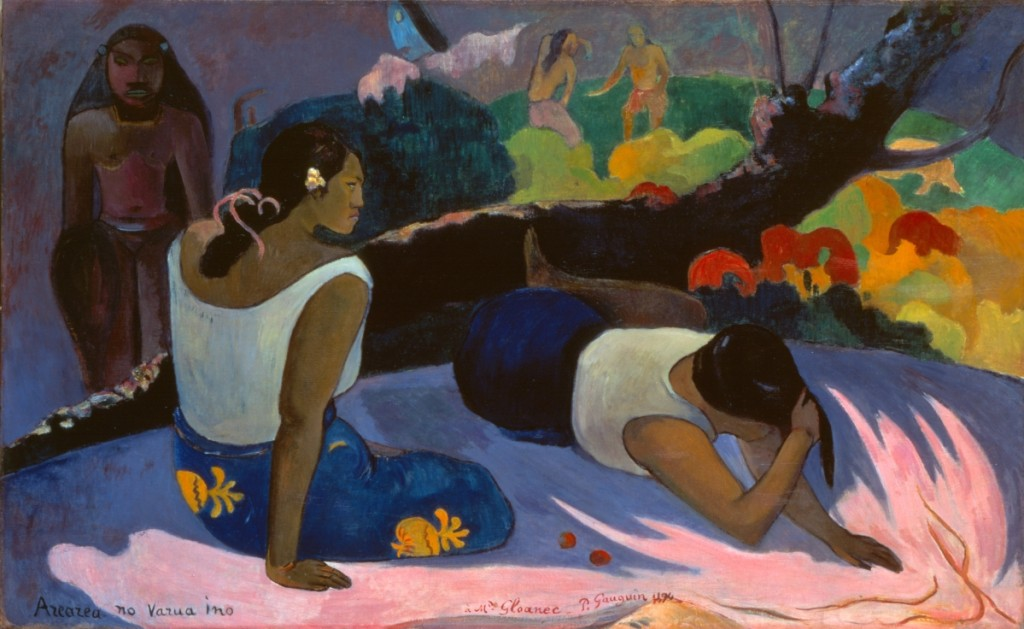 """Reclining Tahitian Women"" or ""The Amusement of the Evil Spirit (Arearea no varua ino)"" by Paul Gauguin, 1894. Oil on canvas, 23-  by 38-9/16 inches. Ny Carlsberg Glyptotek, Copenhagen."