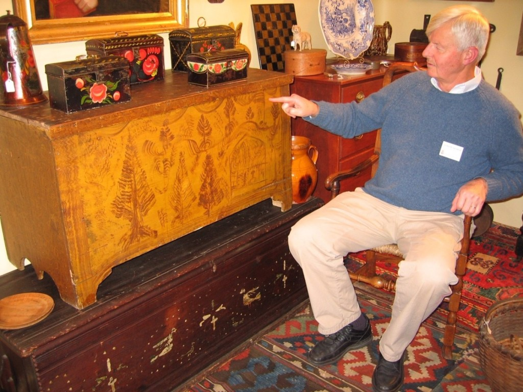 Scranton talks about the finer points of a painted blanket chest. Wethersfield Antiques Show, November 2004.