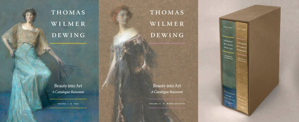 Thomas Wilmer Dewing: Beauty into Art, A Catalogue Raisonné by Susan A. Hobbs with Shoshanna Abeles is published by Yale University Press. The two hardcover volumes are enclosed in a slipcase. Volume 1 includes oil paintings and notes on frames. Hobbs' biography of the artist begins with his early years, 1876-1880, before discussing Dewing's Aesthetic period in the 1880s-90s. The last three chapters address portraiture, figures in landscapes and figures in interiors. Volume II explores pastels, silverpoints, lithographs and drawings by the artist. It includes both a subject index and a title index. The catalogue is available for purchase at www.thomaswilmerdewing.org.