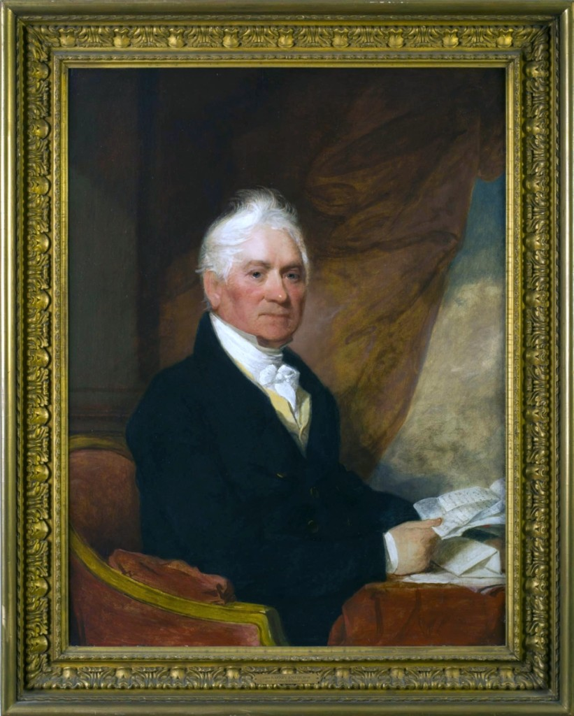 Gilbert Stuart's paintings of Mr Barney Smith (shown) and his wife Ann was the highest priced single lot in the sale, realizing $64,800. They were painted between 1817 and 1825. Smith, a merchant from Taunton, Mass., and his wife had three children, all of whom also had portraits painted by Stuart.