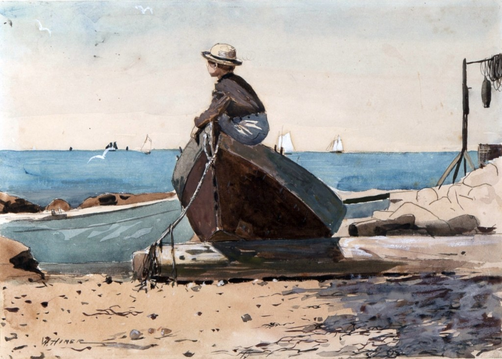 """""""Waiting for Dad (Longing)"""" by Winslow Homer, 1873. Transparent and opaque watercolor on wove paper.   Collection of Mills College Art Museum, gift of Jane C. Tolman. — On view at The Cape Ann Museum, """"Winslow Homer at the Beach."""""""