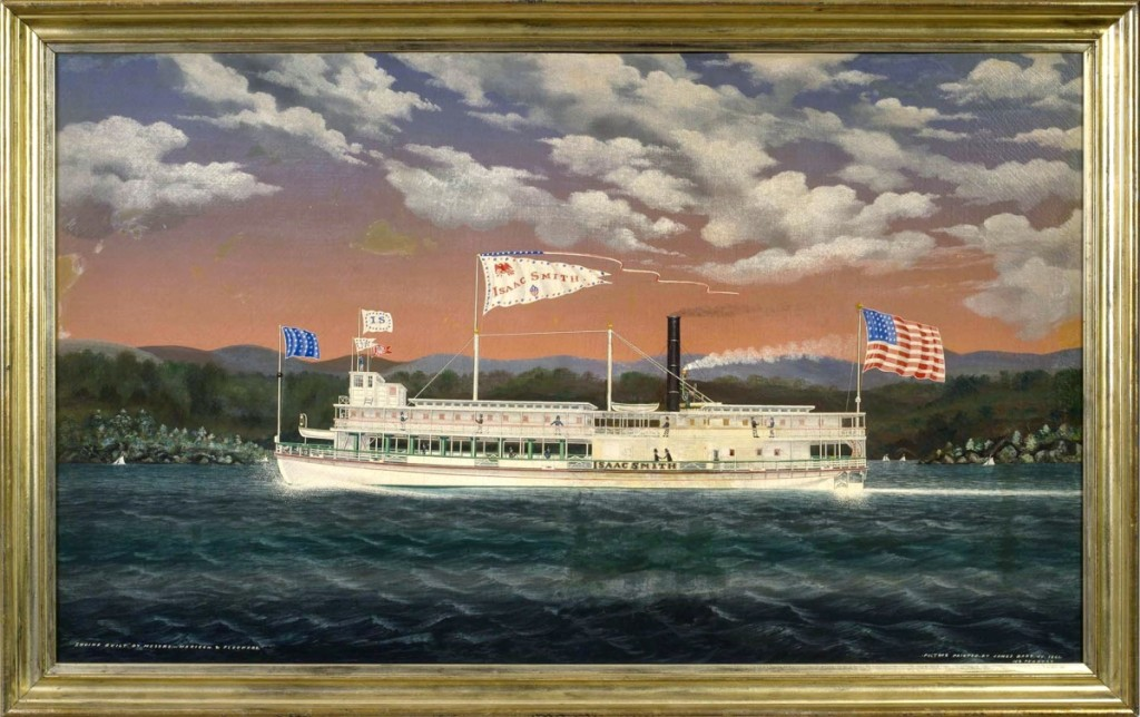 Four James Bard ship portraits sold for a combined total of $158,670. Leading the group was the steamer Isaac Smith with flags flying. It was signed and dated 1861 and reached $45,600.