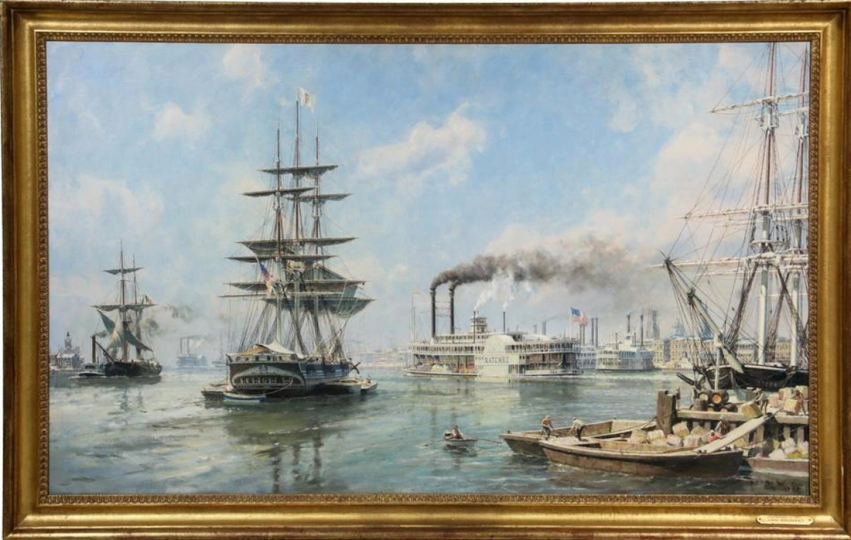"The highest priced item in the three-day sale, realizing $111,150, and titled ""New Orleans, 1871"" was a large marine scene by John Stobart."