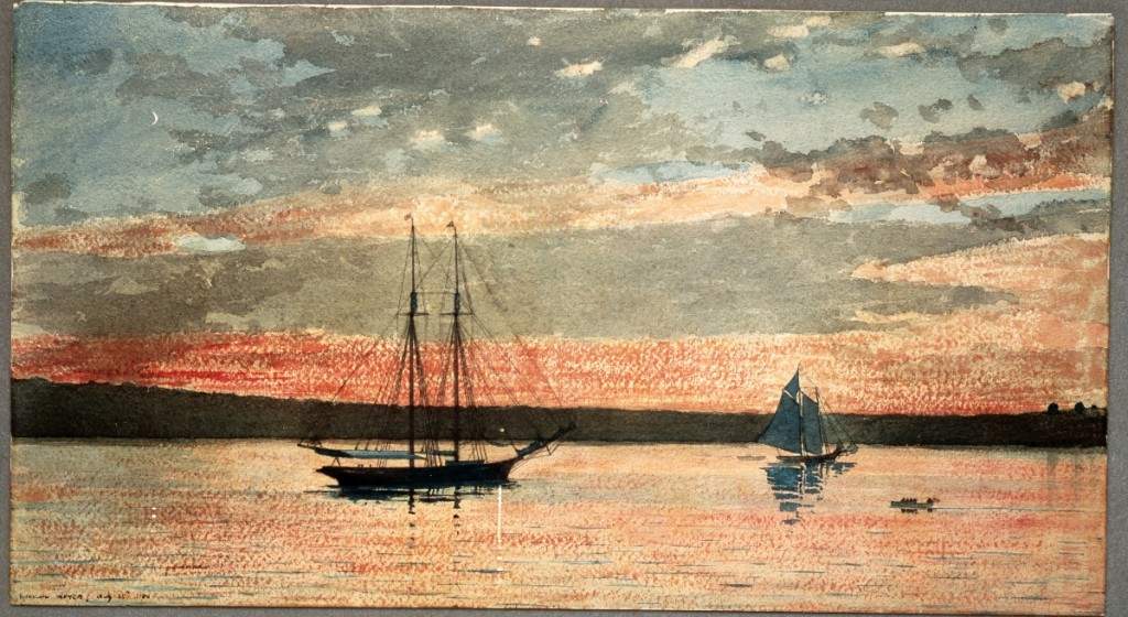 """""""Sunset at Gloucester"""" by Winslow Homer, 1880. Watercolor and graphite on wove paper. Addison Gallery of American Art, Phillips Academy, Andover, Mass., gift of anonymous donor. Art Resource, N.Y. — On view at The Cape Ann Museum, """"Winslow Homer at the Beach."""""""