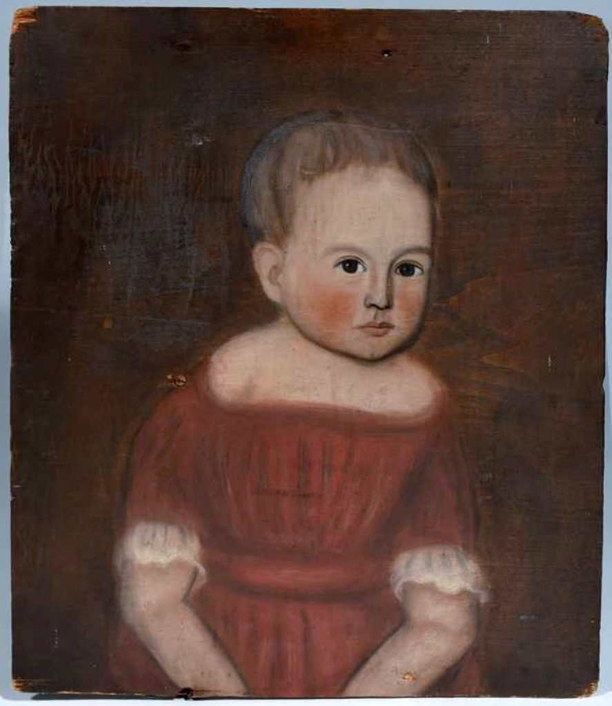 Smith said that he sold this primitive portrait of a child in a red dress on a wooden panel about 15 years, along with a portrait of the child's brother. At the time, the painter had not been identified but is now known to be Ralph D. Curtis of Skaneateles, N.Y. It went to a bidder in the room for $15,525. The companion portrait brought $4,600.