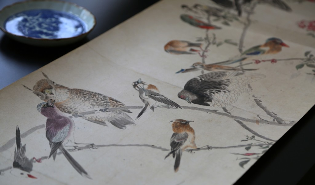 """""""A Hundred Birds"""" by Cho Gessho (1772-1832). Hanging scroll, ink and color on paper.   —Kaikodo, Fall 2019 Asia Week New York."""