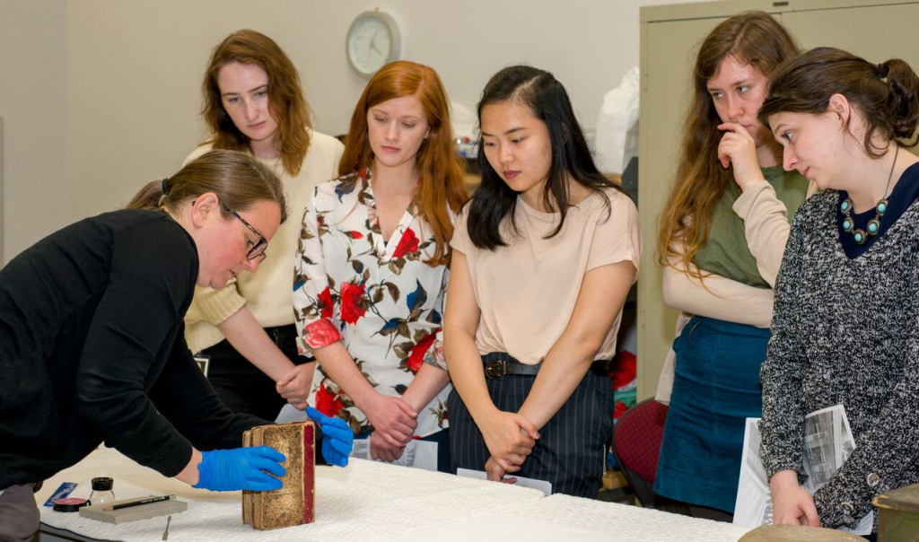 Currently a fellow at the National Gallery of Art in Washington, DC, Tammy Hong, center, is interested in materials.