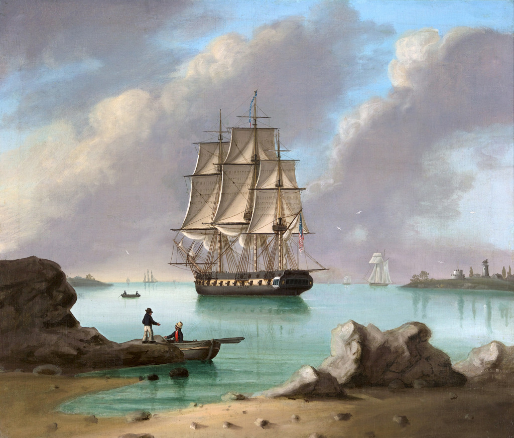 """US Frigate New Castle, New Hampshire"" by John Samuel Blunt (1798-1835), signed J.S. Blunt and dated 1828, oil on canvas. Courtesy Roberto Freitas American Antiques & Decorative Arts."