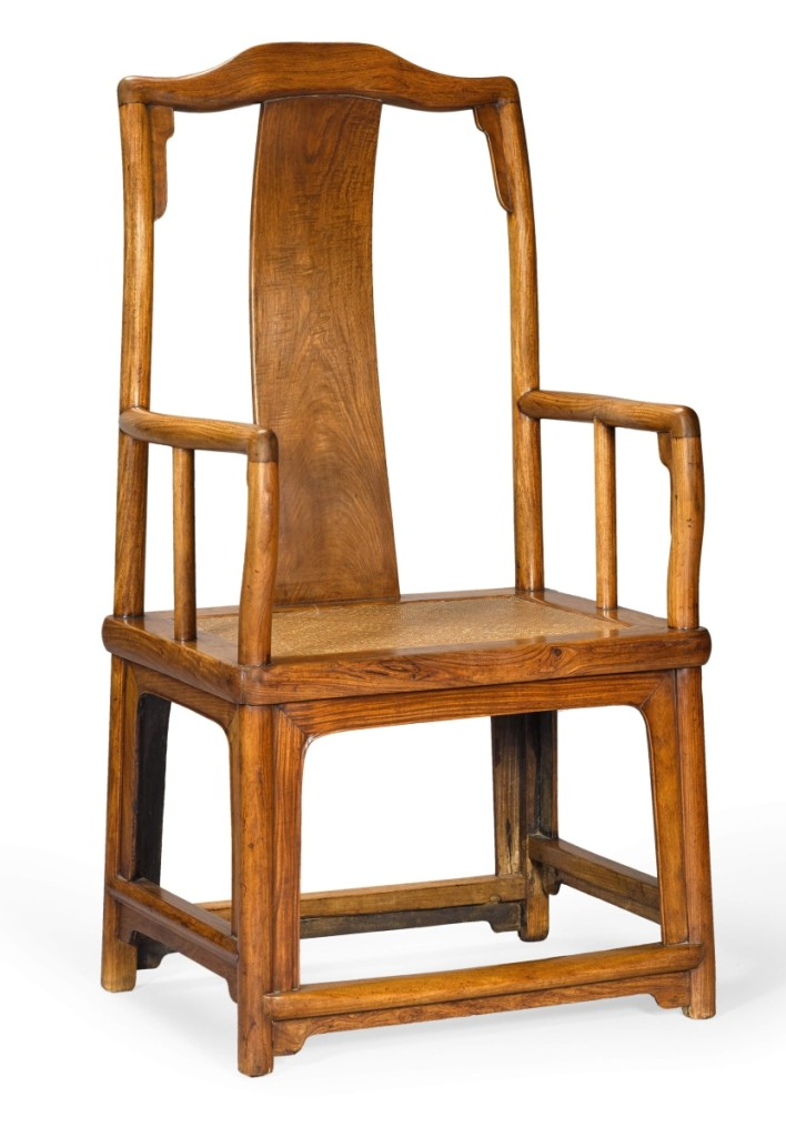 "A huanghuali ""Southern Official's Hat"" armchair, Nanguanmaoyi, Seventeenth/Eighteenth Century, sold for $375,075."