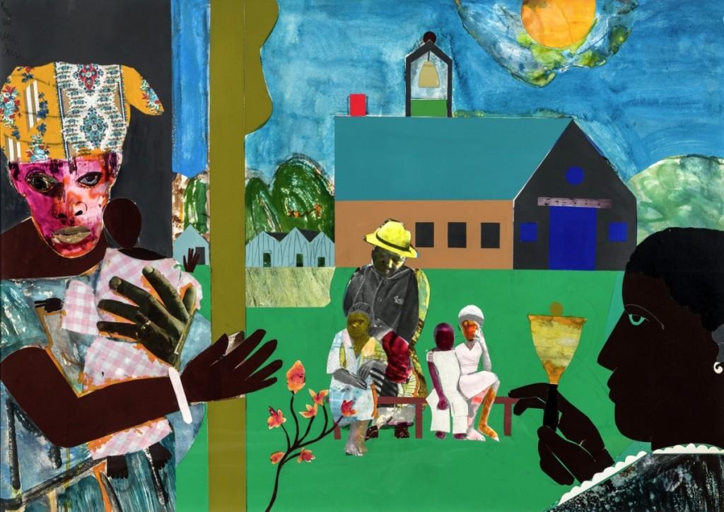 """Profile/Part I, The Twenties, Mecklenberg County, School Bell Time,"" 1978, collage on board. Kingsborough Community College, C.U.N.Y., NYC."