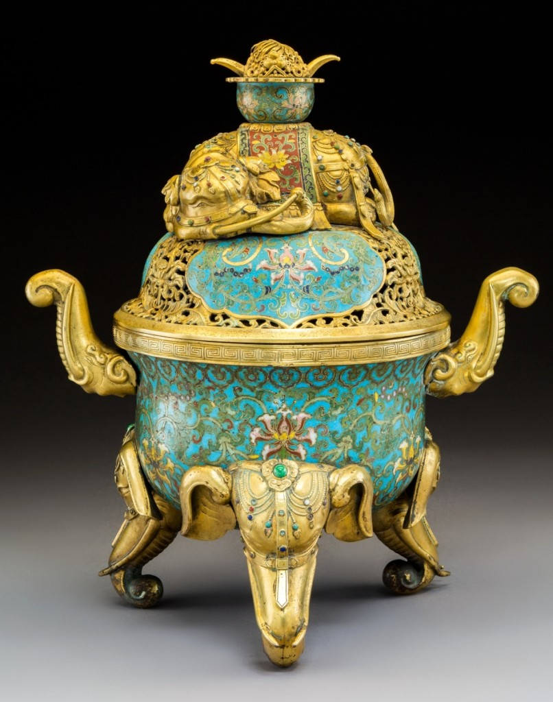 A Chinese imperial cloisonné enamel and cabochon-mounted gilt-bronze elephant censer, Qing dynasty, Qianlong period, sold for $63,125.