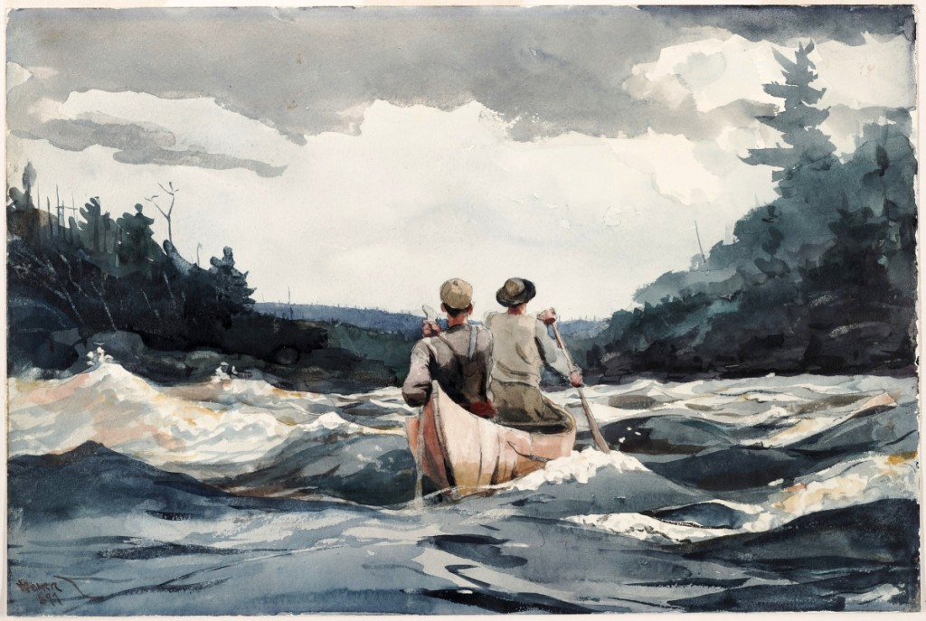 """""""Canoe in Rapids,"""" by Winslow Homer, 1897. Watercolor and graphite on off-white wove paper. Harvard Art Museums/Fogg Museum, Louise E. Bettens Fund. Photo Harvard Art Museums; ©President and Fellows of Harvard College. — On view at The Harvard Art Museums, """"Winslow Homer: Eyewitness."""""""