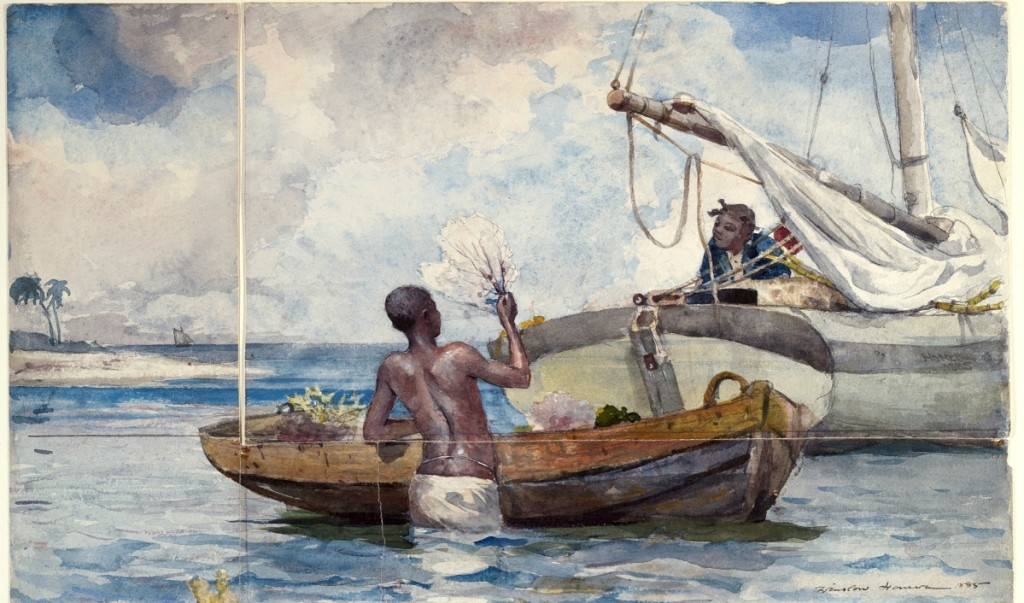"""""""Sea Garden, Bahamas,"""" by Winslow Homer, 1885, shown with two fragments originally part of the drawing, on loan from Yale University Art Gallery. Watercolor over graphite on heavy white wove paper. Harvard Art Museums/Fogg Museum, bequest of Grenville L. Winthrop, and Yale University Art Gallery, gift of Allen Evarts Foster, B.A. 1906. Photo Harvard Art Museums; ©President and Fellows of Harvard College. — On view at The Harvard Art Museums, """"Winslow Homer: Eyewitness."""""""