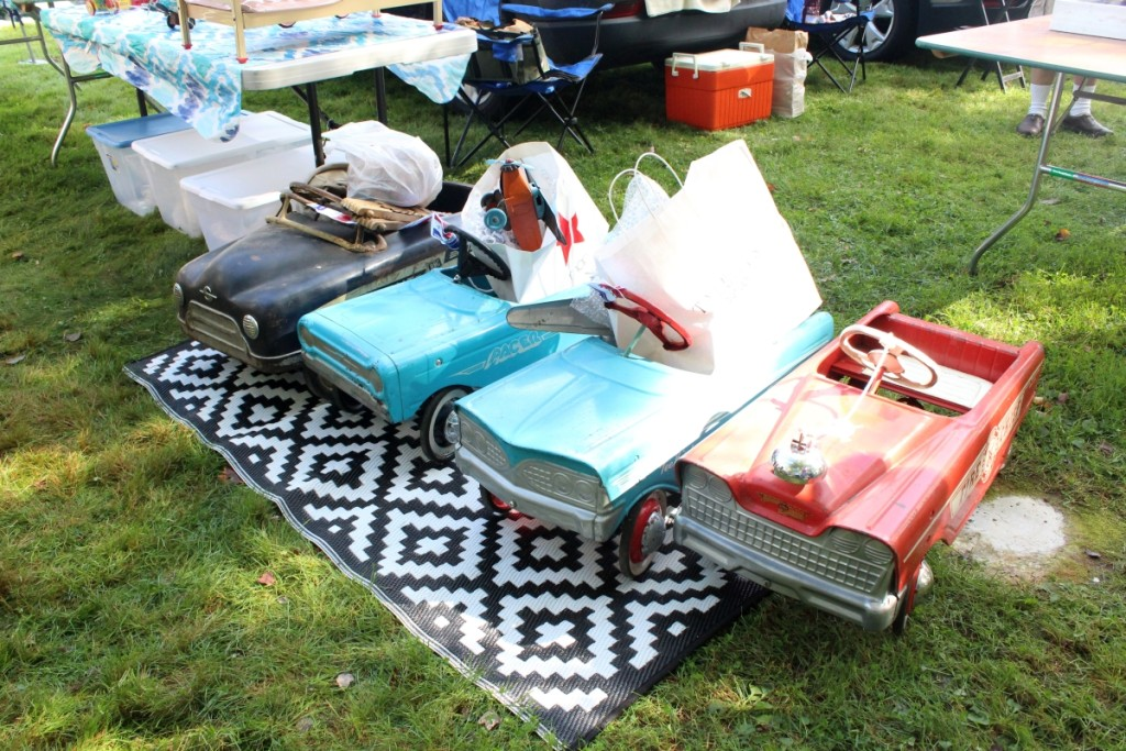 The three pedal cars from the left were bought by a buyer from Holland. Mary Jane Jamrogowicz, Enfield, Conn. —May's