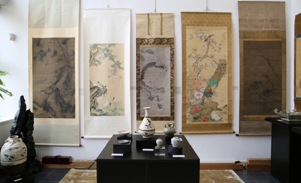 "Hanging scrolls, ceramics and other works of art were featured in ""Sightings: Birds in Chinese & Japanese Art."""