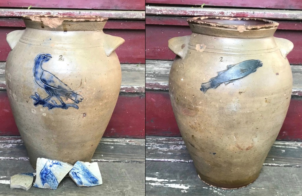 William Pecker attributed stoneware crock with impressed bird on one side and impressed fish on the reverse side, together with a sherd impressed with the same bird recovered at the site of the Pecker Pottery.
