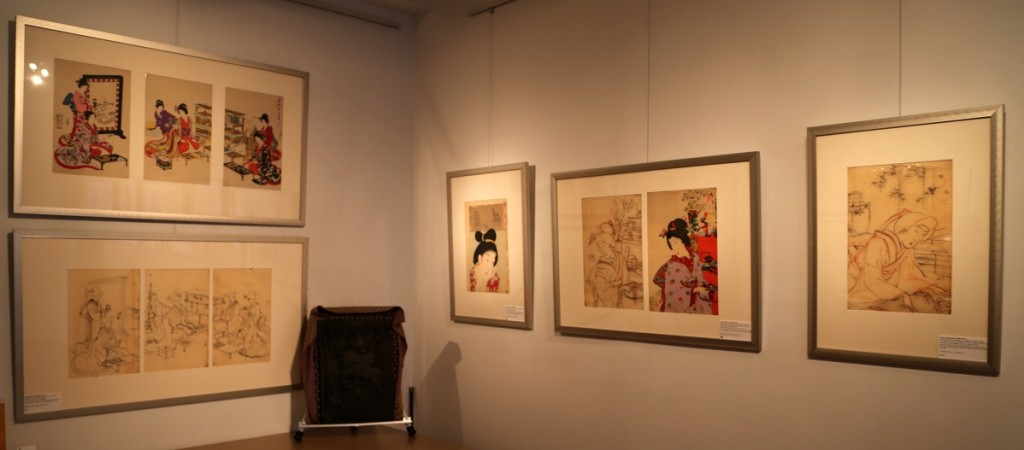 "Hanging on the walls are preparatory drawings and their accompanying prints in ""Brush – Block – Baren: Japanese Woodblock Printmaking."""