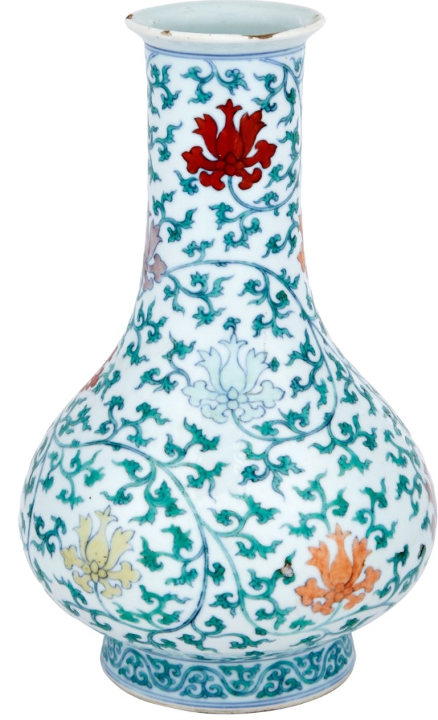 Measuring 9-1/8 inches high, this Ming-style doucai vase stunned the room when it sold for $387,000 above a $3,000 estimate, finishing as the top lot at Doyle. The vase featured the Yongzheng six-character mark within double circles, circa 1723-35.