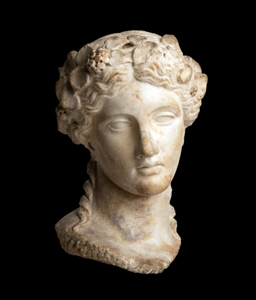 The top lot of the sale was this Roman marble head of Dionysos, which brought $413,000 above an $80,000 estimate. Matt Cottone said the provenance on the work helped it immensely: it had remained in the same family since 1923 and was accompanied by an original sales receipt at that time. It sold to an international bidder.