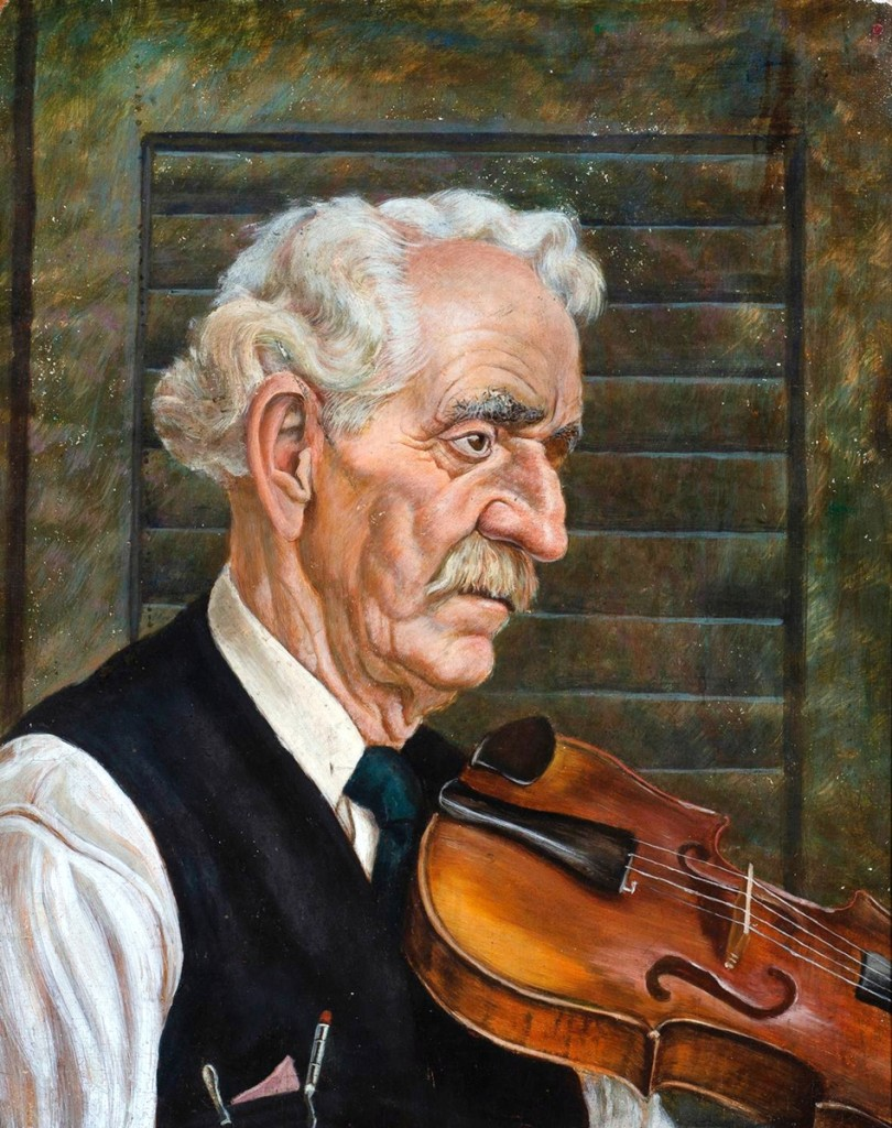 """The highest priced item in the sale, selling for $8,540 was an egg tempera on Masonite, """"Study for Old Man with Violin"""" a 1940 work by Jackson Lee Nesbitt. The artist was friendly with Thomas Hart Benton and the two often traveled together, sketching. Nesbitt's work was included in an exhibit at the 1939 World's Fair."""
